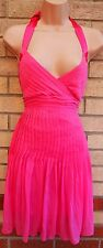 TFNC PINK HALTERNECK FRILLY SKATER FLARE A LINE FUCHSIA PARTY PROM DRESS S 8 10