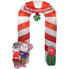 9 ft Tall Christmas Lighted Mistletoe Mice Candy Cane Archway Gemmy Inflatable
