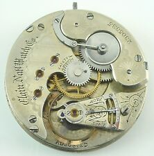 Elgin Grade 50 Complete Running Pocket Watch Movement - Parts / Repair