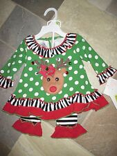 NWT Bonnie Baby, 3-6 M Christmas Holiday Jeweled Reindeer Polka Dot 2 Pc.Outfit