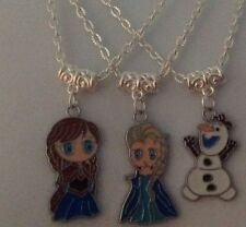 *GIFT - Hand Crafted Silver Plated FROZEN Enamel Charms Necklace - For Christmas