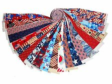 "20 1.5"" Quilting Fabric HONEY BUN Strips Patriotic MEDLEY Red White&Blue WOF-"