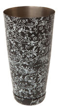 28 oz boston peut noir motif floral tin shaker, bar cocktail équipement