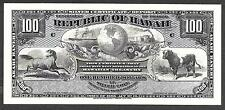 1895 Republic of Hawaii $100.00 Silver Certificate - ABNC Proof Print
