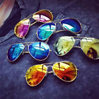 Cool Aviator Women Mens Silver Mirrored Lens Brown Red Green Black Sunglasses