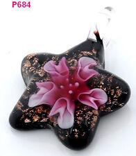 new elegant flower star lampwork Murano art glass beaded pendant necklace hs684