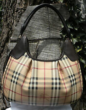 BURBERRY Haymarket Brooklyn Espresso Leather Trim HOBO BAG w/ Dust Bag NICE!