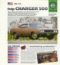 DODGE CHARGER 500 COLLECTOR BROCHURE SPECS 1969 GROUP 4, NO 42