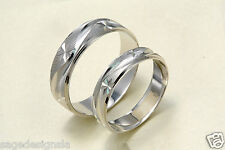 14K White Gold His & Hers Matching Snowflake Star Wedding Band Engagement Rings