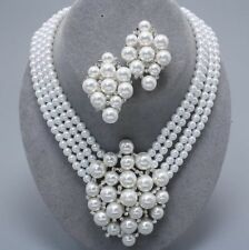White Pearl Crystal Cluster Bridal Audrey Hepburn Style Icon Statement Necklace