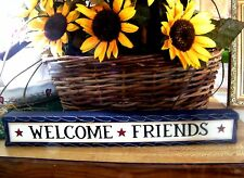 "12"" Wood Carved Inspirational Home Decor Shelf Sitter Sign -  WELCOME FRIENDS"
