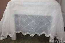 Shabby Cottage Chic Ivory Organza Embroidered Scalloped Curtain Valances (2) B13