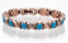 SOLID COPPER LINK MAGNETIC TURQUOISE BRACELET health stress #TQ-XO healing XOXO