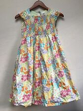 Girls Gymboree Dress Size 12 Floral Butterfly Blossoms Smocked