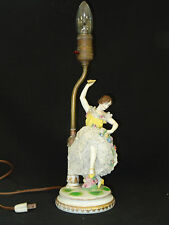 ANTIQUE LARGE  19 c  MULLER VOLKSTEDT DRESDEN LACE FIGURAL PORCELAIN TABLE LAMP