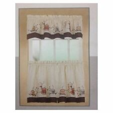 COFFEE CUP COMPLETE TIER & SWAG SET KITCHEN CURTAIN  Cappuccino, café and laté