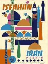 Isfahan Iran Persia Persian Arabian Vintage Travel Advertisement Art Poster