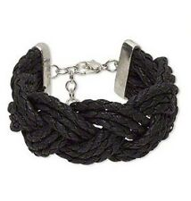 Black Bracelet, Multi-Strand, Waxed Cotton and Silver-Finished Copper and Steel