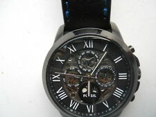 Fossil Automatic men's blk leather.Water resist,Analog automatic watch.ME-3028