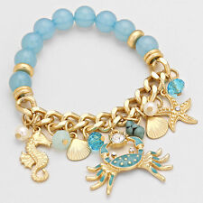 Ocean Inspired Crab Seahorse Shell Starfish Beaded Stretch Bracelet   Aqua