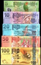 SET FIJI 5 10 20 50 100 DOLLARS 2013 New BIRD TURTLE GEM UNC BANKNOTES,RAREST