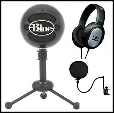 Blue Snowball USB Recording Microphone Sennheiser Studio Headphones + Pop Filter