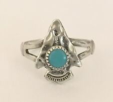 Vintage (925) Sterling Silver Arrow Head Ring With Turquoise Stone   NR!