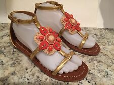 Tory Burch Maura Sandals Flat Leather Jeweled Gold Cream Coral 6.5 M New $295