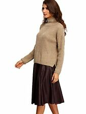 OEUVRE Women's Turtle High Neck Boxy Long Sleeve Jumper Sweater Brown 12