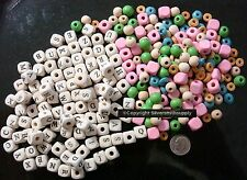 Wood alphabet beads 200+ of various sizes and colors great spacer beads WB013