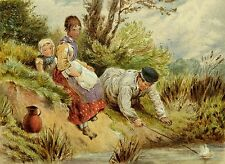 Modern Illegible Signature Victorian Subject Children Toy Boat English Painting
