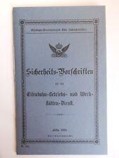 1890 SICHERHEIT VORSCHRIFTEN EISENBAHNDIRCTION KÖLN WERKSTÄTTEN  DIENST *45