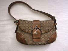 COACH SHOULDER BAG BROWN SIGNATURE LOGO SILVER BUCKLE SMALL