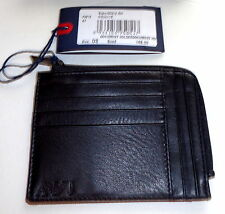 Armani Jeans Men's Genuine Leather Credit Card Holder Wallet Black NWT FREE SHIP