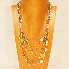 "26"" Classic Vintage Multi Strand Green & Gold Handmade Seed Bead Necklace"