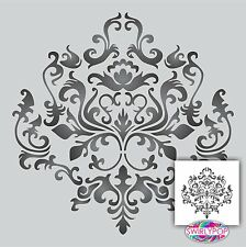 "Damask wall stencil ** LARGE ** 14""x14"" Faux Mural Pattern"