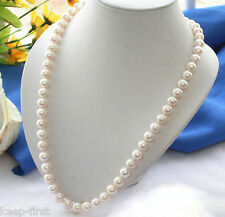 Real Natural 7-8MM White Freshwater Cultured Pearl Necklace 18'' AAA