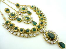 GREEN CZ GOLD TONE NECKLACE SET BOLLYWOOD BRIDAL TRADITIONAL PARTY WEAR JEWELRY