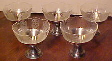 GORGEOUS VINTAGE 5 FOOTED STAINLESS SCALLOPED GLASS ICE CREAM DESSERT CUPS BOWLS