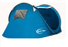 NEW EASY SETUP POPUP POP UP 3 PERSON MAN TENT UV PROTECTION COATING BLUE