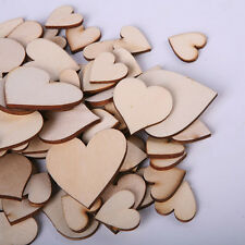 100pcs Blank Unfinished Wooden Heart Crafts Supplies Laser Cut Rustic Wood
