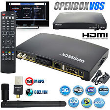 Receptor satélite Openbox V8S Digital Freesat HD Grabadora De Caja + wifi Dongle UK