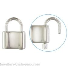 1x 16mm  x 12mm STERLING SILVER PADLOCK JEWELLERY CLASP CATCH NCKLACE / BRACELET
