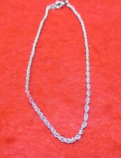9 1/2 INCH 14KT WHITE  GOLD EP SMALL ROPE ANKLET