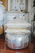 Stunning Moroccan Ottoman Pouffe Pouf Footstool In Silver