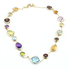 14K Yellow Gold Necklace With Multi Color Gemstones By The Yard 36 Inches