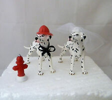 Wedding Party Reception Fireman Dalmatian Dog Fire Hydrant Cake Topper
