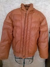 Vintage PHILIPPE MONET Leather & Down Puffer Jacket Hip Hop Cool sz S to M