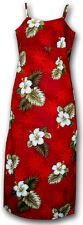 Womens Genuine Hawaiian Red Hibiscus Long Spaghetti Dress Size S