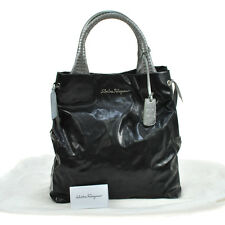 Auth Salvatore Ferragamo Gancini Logos Hand Bag Black Patent Leather VTG V05983